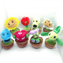 Plants VS Zombies Plush Toys Stuffed Dolls in Flowerpots 20cm/8Inch Tall