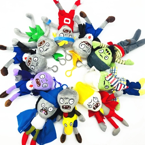 Plants VS Zombies Plush Zombie Toys Stuffed Dolls Mini Size with Keychains 18cm/7Inch Tall