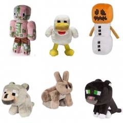Minecraft Plush Toys 6Pcs Set - Snow Golem Black Leopard Chicken Rabbit Zombie