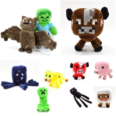Minecraft Steve Zombie Enderman Creeper Plush Toys Stuffed Animals 10Pcs Set