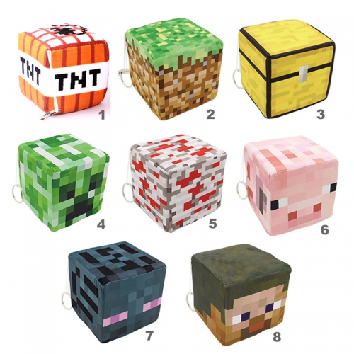 Minecraft Plush Cube Stuffed Block Toys with Keychains 10cm/4Inch
