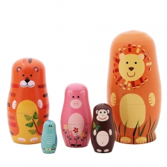 5Pcs Nesting Dolls Cute Wooden Matryoshka Cartoon Animals Russian Dolls