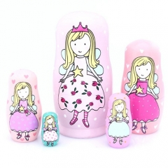 5pcs Russian Nesting Dolls Pink Angel Girls Handmade Wooden Russian Dolls Toys