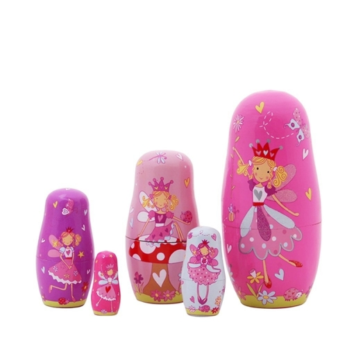 5pcs Russian Nesting Dolls Purple Angel Girls Handmade Wooden Russian Dolls Toys