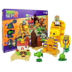 Plants vs Zombies Lego Compatible Building Blocks Shooting Toys The Mystical Egypt Large Scene 419Pcs