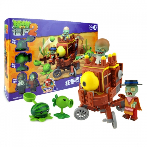 Plants vs Zombies Lego Compatible Building Blocks Shooting Toys The Wild West Large Scene 202Pcs