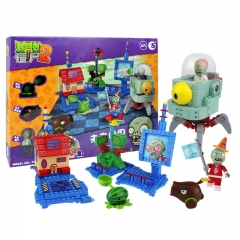 Plants vs Zombies Lego Compatible Building Blocks Shooting Toys The Future World Large Scene 389Pcs