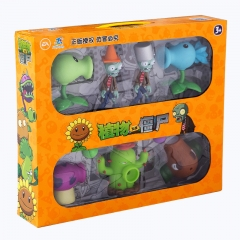 Plants vs Zombies Action Figure Toys Shooting Dolls Peashooter Coconut Cannon Conehead Zombie 7-in-1 Set in Gift Box