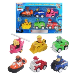 6Pcs Set Paw Patrol Roles Action Figure Toys with Pull-back Vehicles 3Inch