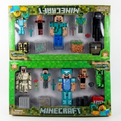 Minecraft Action Figures Mini Figure Toys Steve Zombie 12Pcs Set with Light and Sound