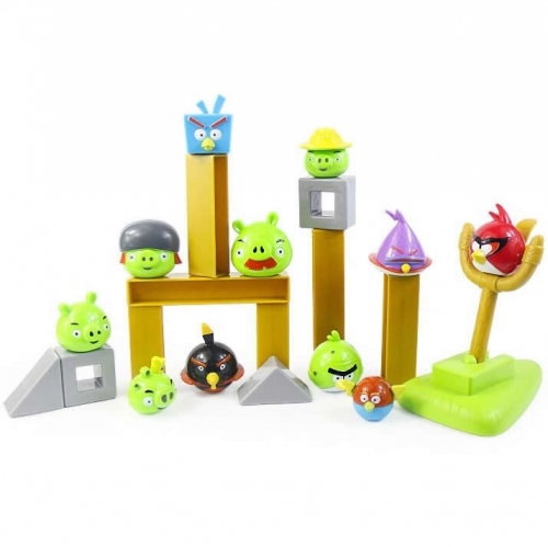 Angry Birds Space Version Building Blocks Shooting Toys 6 Birds 5 Pigs Set In Backpack