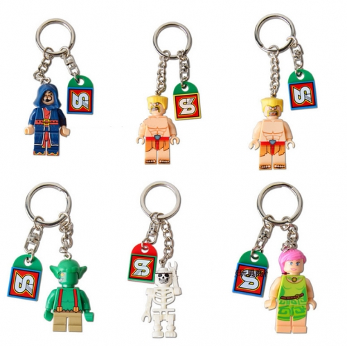 6Pcs Set Clash of Clans Roles Action Figure Block Toys with Keychains SY261A