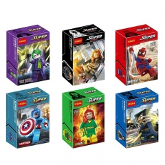6Pcs Marvel Super Heroes Spider Man Captain America Wolverine Minifigures Block Mini Figure Toys 0147-0152