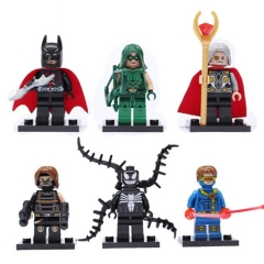 6Pcs Marvel Super Heroes Lego Compatible Batman Venom Minifigures Block Mini Figure Toys 0134-0139