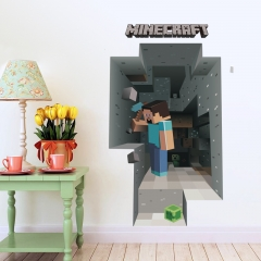 Minecraft 3D Wall Stickers Decorative Steve Dig Wall Decal 6009 50x70cm