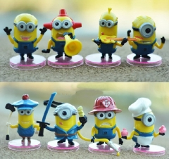 8Pcs DESPICABLE ME 2 The Minions Action Figures PVC Model Toys with Stands 6cm/2.4Inch