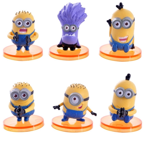 6Pcs DESPICABLE ME 2 The Minions Action Figures PVC Toys with Stands 4cm/1.6""
