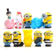 10Pcs DESPICABLE ME The Minions Action Mini Figures Soft Rubber Toys 5.6cm/2.2inch Tall