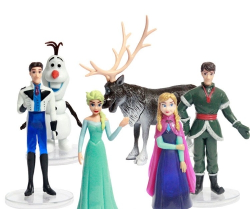 6pcs/Lot Frozen Action Figures PVC Toys with Standing Boards 4inches Tall