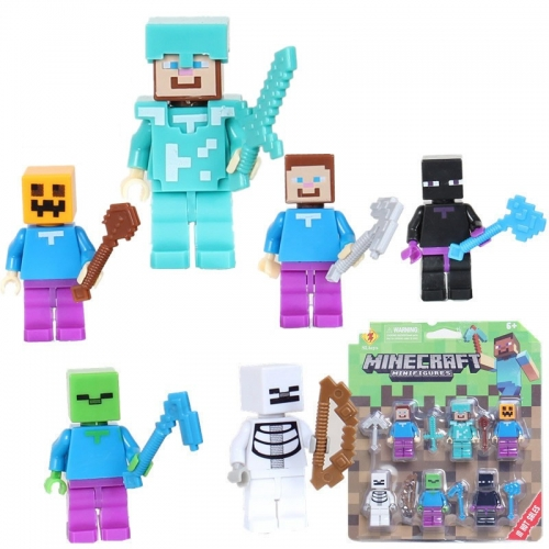 MineCraft Minifigures Steve Zombie Enderman Block Mini Figure Toys 6Pcs Set