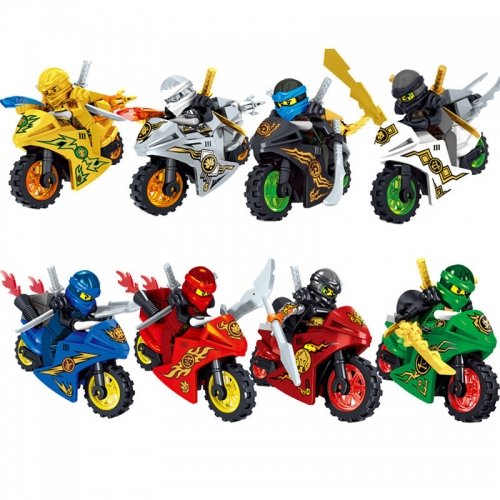 8Pcs Set Ninjago Lego Compatible Block Mini Figure Toys with Motorcycles 31050