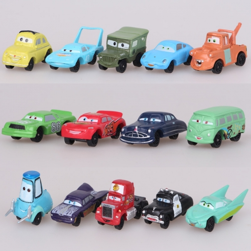 14Pcs Cars Lightning McQueen Chick Hicks Action Figures Garage Kits PVC Toys 0.8Inch