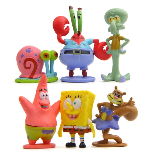 6Pcs SpongeBob SquarePants Action Figures Kit Mini PVC Toys 2.3-5.8cm/0.9-2.3Inch Tall