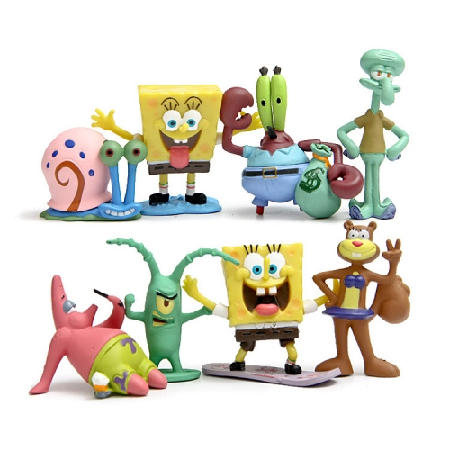 8Pcs SpongeBob SquarePants PVC Action Figures Toys 3.5-6.5cm/1.4-2.6Inch Tall