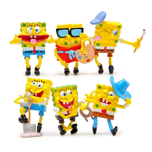 6Pcs SpongeBob SquarePants Action Figures Kit Mini PVC Toys 6-7cm/2.4-2.8Inch Tall
